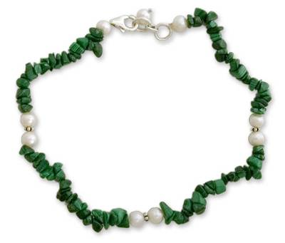 Pearl and malachite beaded anklet