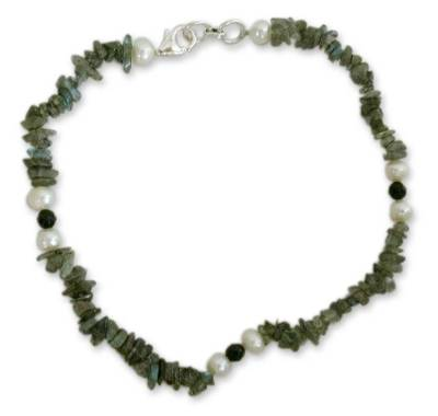 Labradorite and pearl beaded anklet