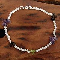Rainbow moonstone and amethyst anklet, 'Rainbow Light' - Rainbow Moonstone and Amethyst Anklet