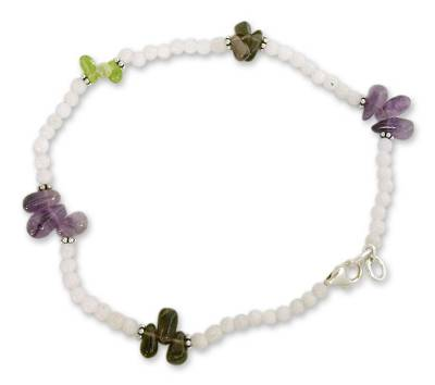 Rainbow Moonstone and Amethyst Anklet