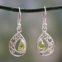Peridot dangle earrings, 'Lace Halo' - Peridot Birthstone jewellery in Sterling Silver Earrings