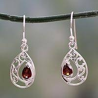 Garnet dangle earrings, 'Lace Halo' - Earrings with Garnet and Sterling Silver Handmade in India