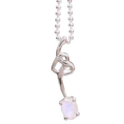 Sterling Silver and Moonstone Pendant Necklace