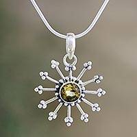 Citrine pendant necklace, 'Sunshine Daze' - Fair Trade Citrine Sun Necklace in Sterling Silver