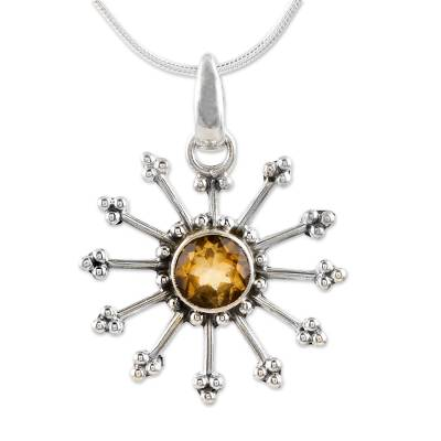 Fair Trade Citrine Sun Necklace in Sterling Silver