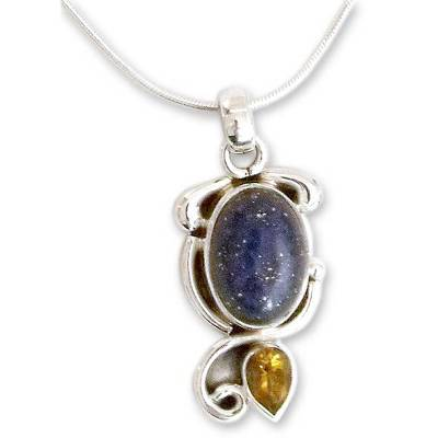 Indian Necklace with Lapis Citrine and Sterling Silver