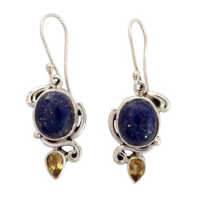 Indian Earrings with Lapis Citrine and Sterling Silver