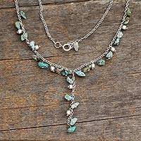 Turquoise Y necklace, 'Jaipur Princess' - Turquoise Y necklace