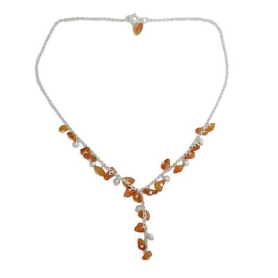 Carnelian Y necklace