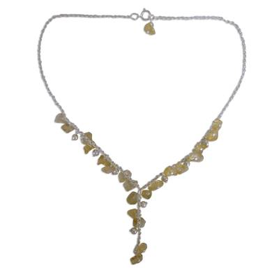 Citrine Y necklace