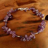 Amethyst beaded anklet, 'Mystic Dancer' - Fair Trade Amethyst Anklet from India