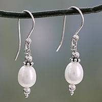 Cultured pearl dangle earrings, 'Destiny' - Women's Sterling Silver and Pearl Dangle Earrings