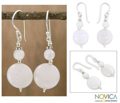 Moonstone dangle earrings, 'Luminosity' - Moonstone dangle earrings