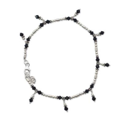 Unique Sterling Silver Beaded Onyx Anklet