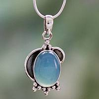 Chalcedony pendant necklace, 'Sky Charm' - Sterling Silver and Chalcedony Pendant Necklace