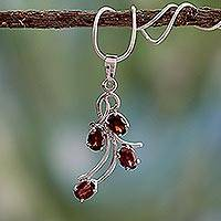 Garnet flower necklace, 'Scarlet Petals' - Garnet flower necklace