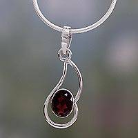 Garnet pendant necklace, 'Forever Scarlet' - Garnet pendant necklace
