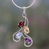 Multi-gemstone pendant necklace, 'India Lights' - Amethyst and garnet pendant necklace