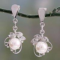 Pearl dangle earrings, 'Dream Flower' - Pearl dangle earrings