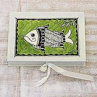 Madhubani greeting cards, 'Waterworld' (set of 8) - Madhubani greeting cards (Set of 8)