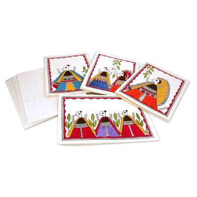 Madhubani Greeting Cards Handmade Paper (Set of 8)
