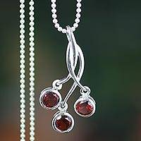 Garnet pendant necklace, 'Cherry Trio' - Sterling Silver and Garnet Pendant Necklace