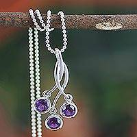 Amethyst pendant necklace, 'Lilac Trio' - Fair Trade Jewelry Sterling Silver and Amethyst Necklace