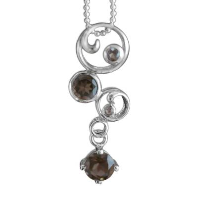Hand Crafted Sterling Silver and Smoky Quartz Necklace