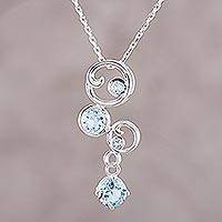 Blue topaz pendant necklace, 'In Circles'