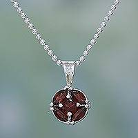 Garnet pendant necklace, 'Jaipur Star' - India Jewelry Collection Silver and Garnet Necklace