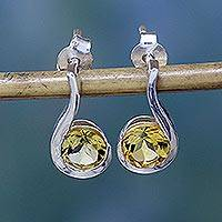 Citrine drop earrings, 'Golden Droplet' - Women's Citrine Earrings Sterling Silver Jewelry from India