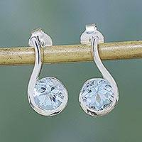 Blue topaz drop earrings, 'Sky Droplet' - Blue Topaz Earrings in Sterling Silver Modern Jewelry