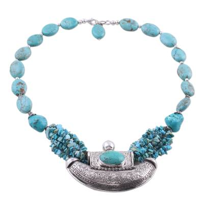 Sterling Silver and Turquoise Colored Necklace