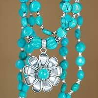 Sterling silver floral necklace, 'Floral Bliss' - Sterling Silver Turquoise Colored Necklace Floral Jewelry