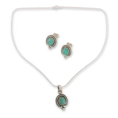 Sterling Silver Earrings and Necklace Jewelry Set