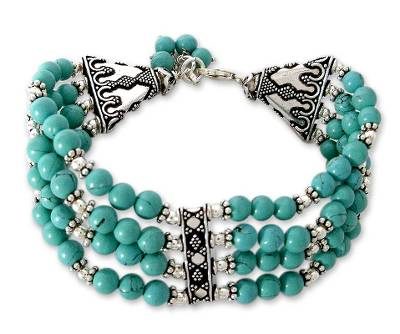 Blue Indian Wristband Bracelet with Silver Jewelry