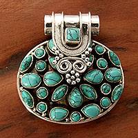 Sterling silver pendant, 'Sweet Blue' - Indian Floral Sterling Silver Turquoise coloured Pendant