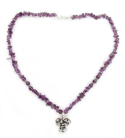 Sterling Silver Flowers on Handmade Amethyst Beaded Necklace