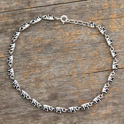 Sterling silver anklet, 'Elephant Parade' - Sterling Silver Link Elephant Anklet Indian Jewelry
