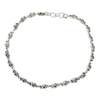 Sterling Silver Link Elephant Anklet Indian Jewelry