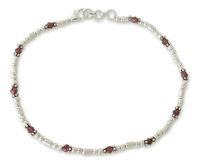 Sterling Silver Garnet Anklet Indian Beaded Jewelry