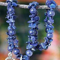 Lapis lazuli strand necklace, 'Love Heals' (India)