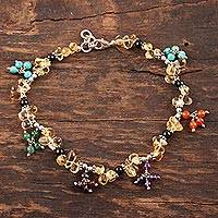 Citrine and garnet beaded anklet, 'Rainbow Gems' - Citrine and garnet beaded anklet