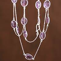 Amethyst long chain necklace, 'Duduma Majesty'