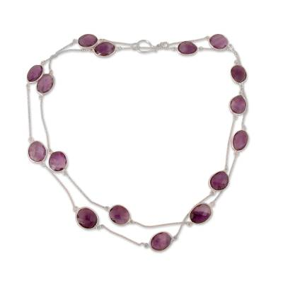 Amethyst Long Necklace with Sterling Silver