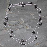 Smoky quartz long chain necklace,