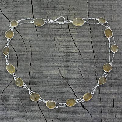 Lemon quartz long chain necklace, Duduma Majesty