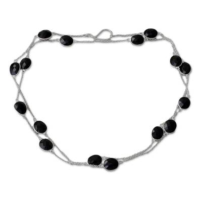 Sterling Silver with Onyx Station Necklace from India