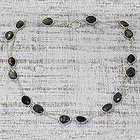Labradorite long chain necklace,