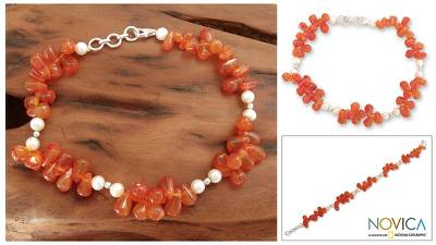 Carnelian and cultured pearl anklet, 'Ginger Glow' - Carnelian and cultured pearl anklet